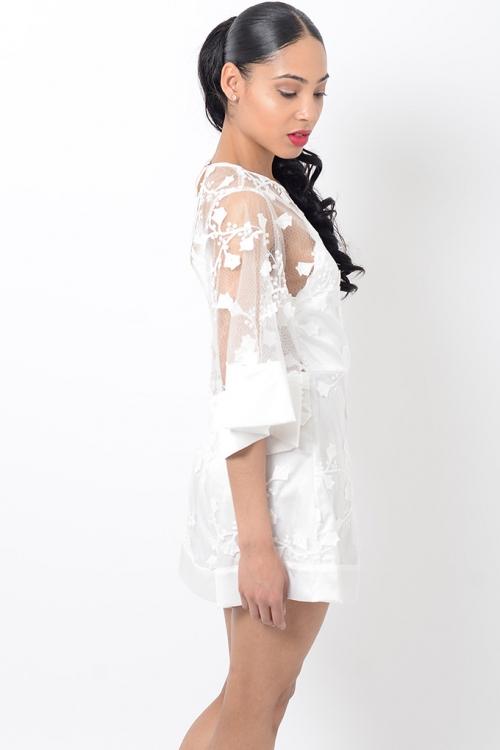 Stylish White Lace Playsuit