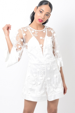 Stylish White Lace Playsuit