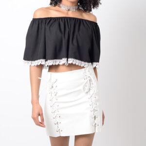 Stylish White Pu Lace Up Mini Skirt