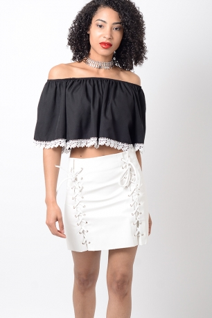 Stylish White Pu Lace Up Mini Skirt
