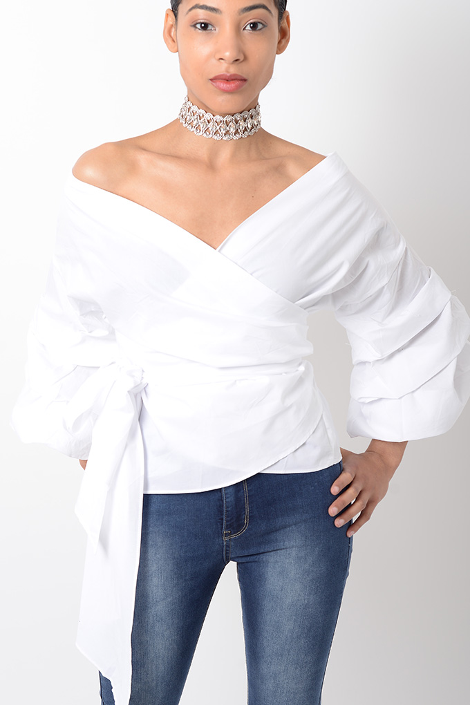 eef2675fa3642a Stylish White Ruffle Sleeve Wrap Top | Stylish Tops, Wrap Top ...