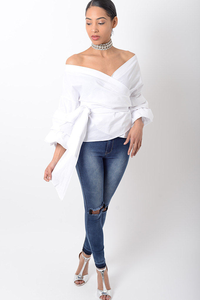 Stylish Tops Collection 2013 For Girls: Stylish White Ruffle Sleeve Wrap Top