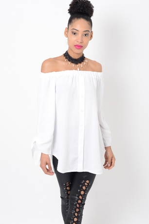 Stylish White Tie Sleeve Bardot Top