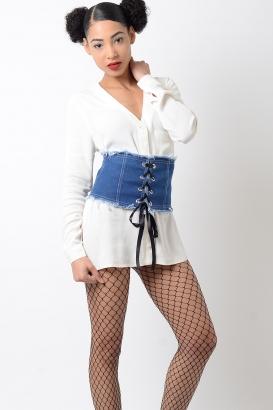 Stylish Denim Corset Waist Belt