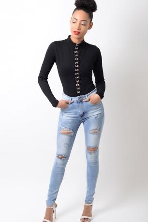 Stylish Long Sleeve Black Bodysuit