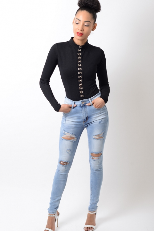 Stylish Long Sleeve Black Bodysuit