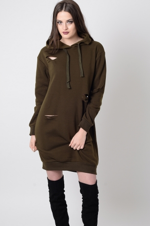 Stylish Khaki Ripped Jumper dress