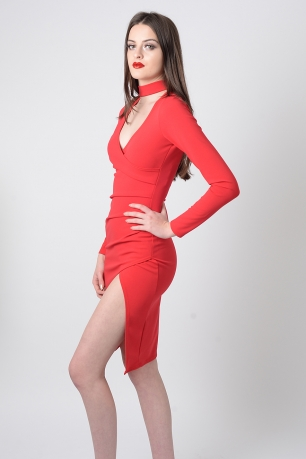 Stylish Red Choker Dress