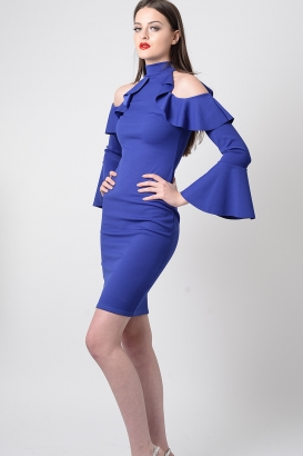 Stylish Blue Cold Shoulder Frill Dress