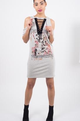 Stylish Lace Up T-shirt Dress
