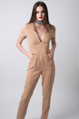 Stylish Nude Plunge Neck Jumpsuit