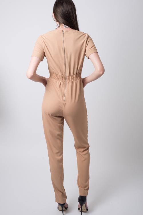 Stylish Nude Plunge Neck Jumpsuit