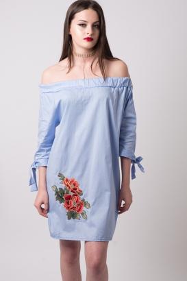 Stylish Flower Embroidered Tunic Dress