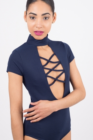 Stylish Choker Lace Up Bodysuit