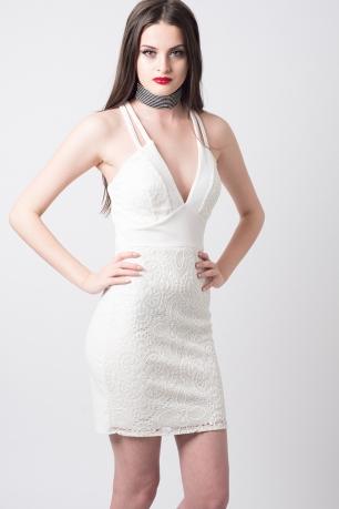 Stylish Plunge Mini Bodycon Dress