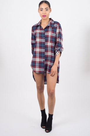 Stylish Blue Checked Shirt Dress