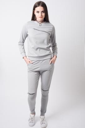 Stylish Zip Detail Grey Tracksuit