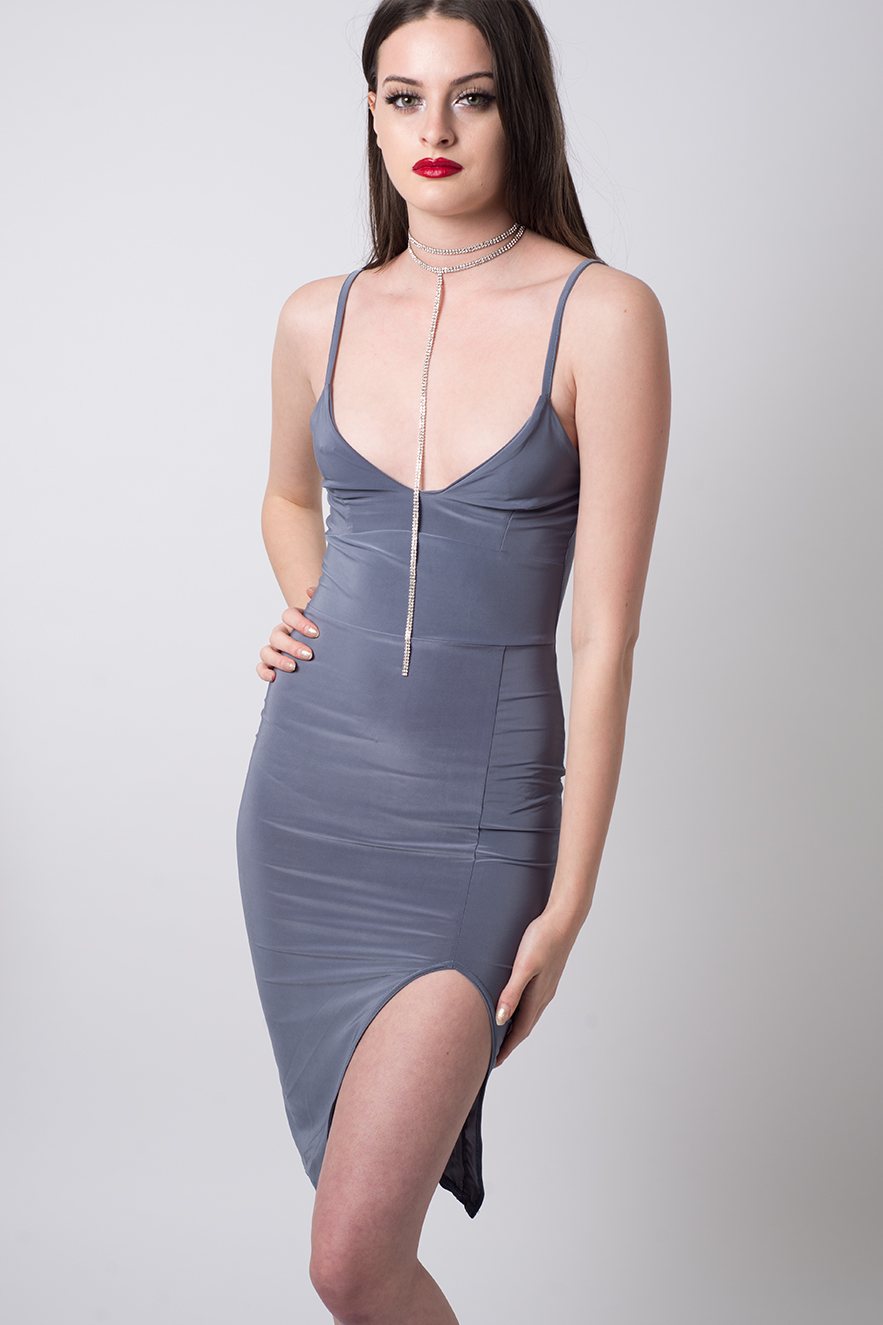 Stylish Slinky Side Slit Bodycon Dress Stylish Bodycon
