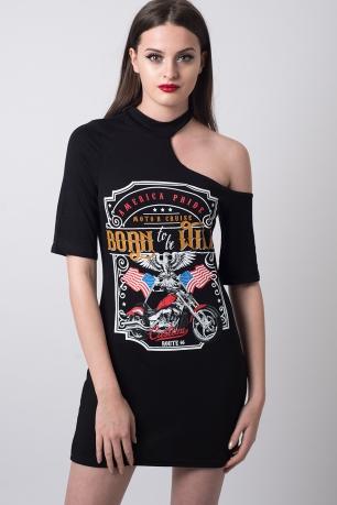 Stylish Cut Out Shoulder T-shirt Dress