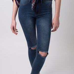 Stylish High Waisted Ripped Knee Jeans
