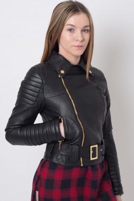 Stylish Faux Leather Biker Jacket
