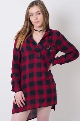 Stylish Long Sleeve Checked Shirt Dress