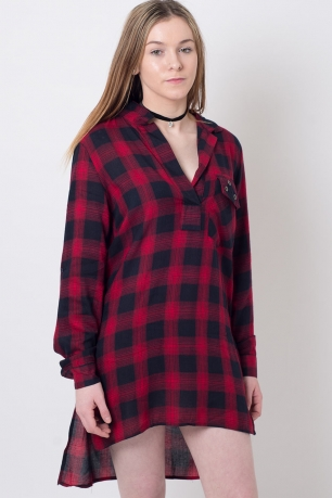 Stylish Long Sleeve Checked Shirt Dress
