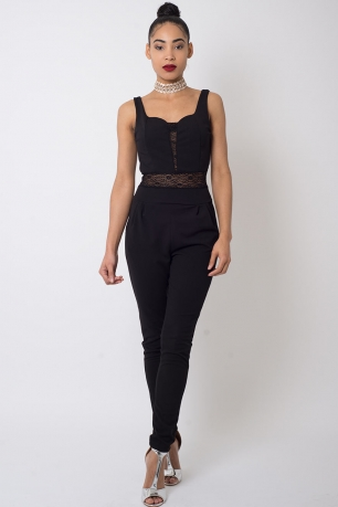Stylish Lace insert Jumpsuit