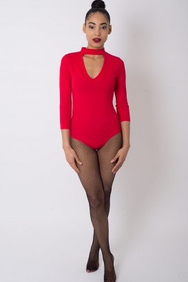 Stylish Red Choker Bodysuit