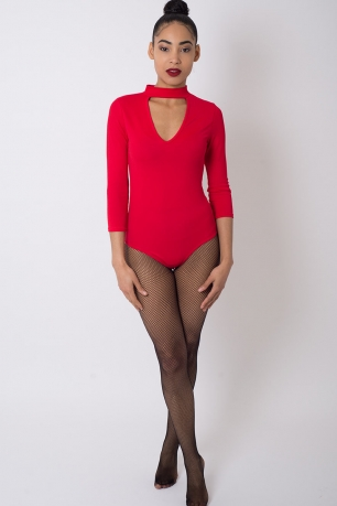 Stylish Red Choker Bodysuit