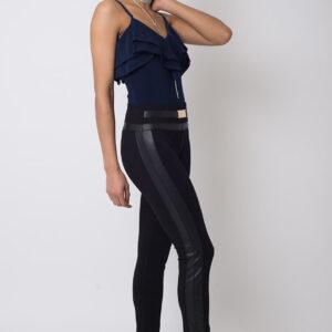 Stylish Leather Contrast Leggings