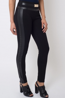 Stylish Leather Contrast Leggings