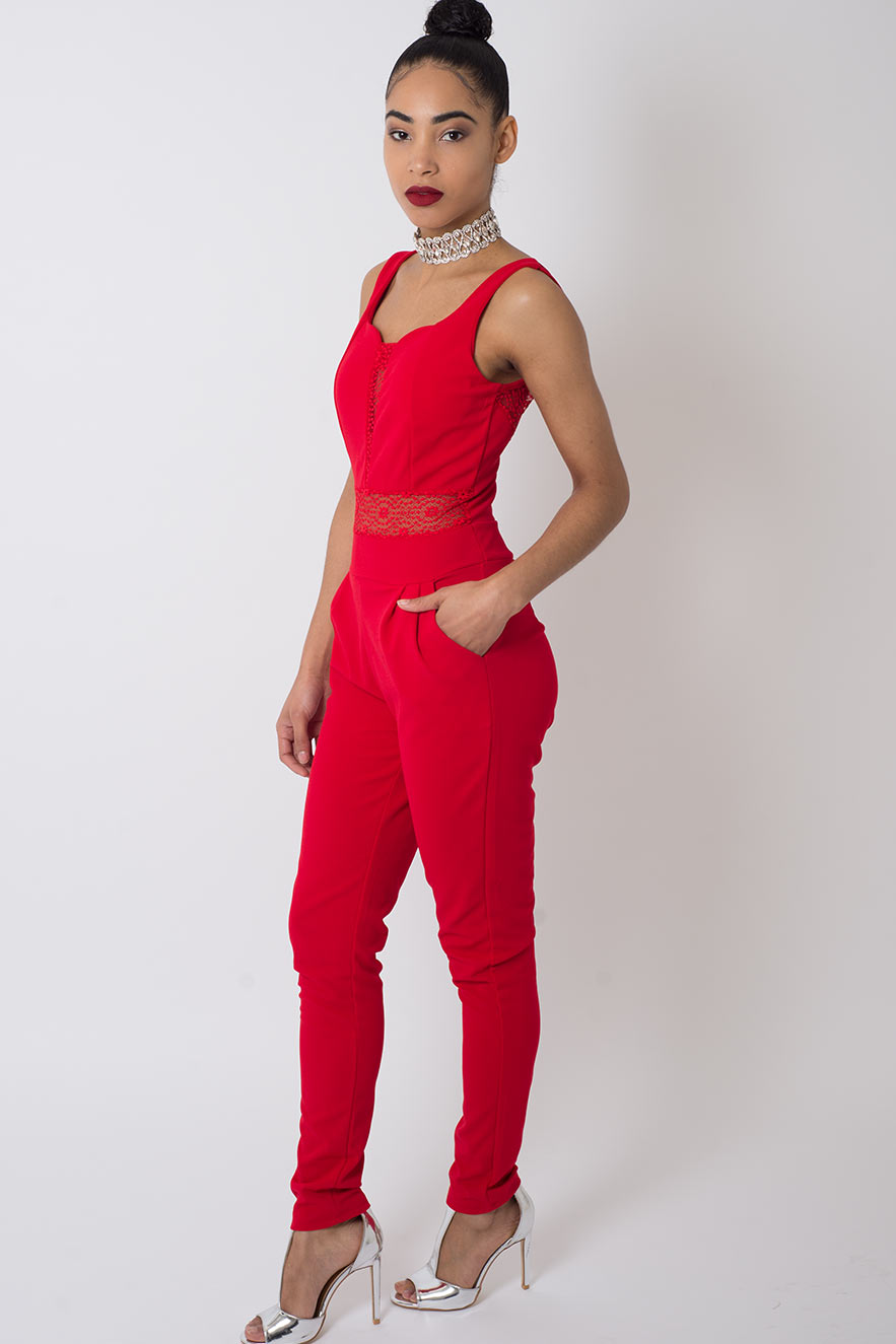 Stylish Lace Insert Jumpsuit