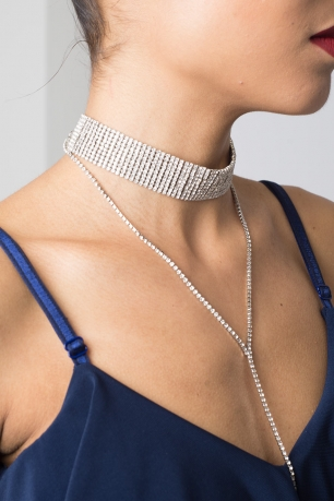 Stylish Drop Chain Diamond Choker