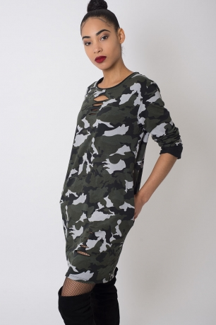 Stylish Camo Print Long Sleeve Dress