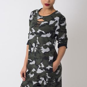 Stylish Camo Print Long Sleeve Dress