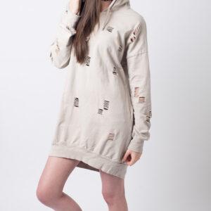 Stylish Distressed Hooded Jumper Dress