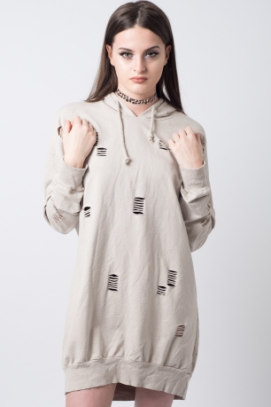Stylish Distressed Hooded Jumper Dress