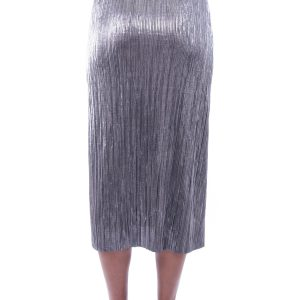 Stylish Silver Metallic Pleat Skirt