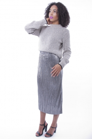 Stylish Silver Metallic Pleat Skirt