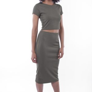 Stylish Khaki Two Piece Set
