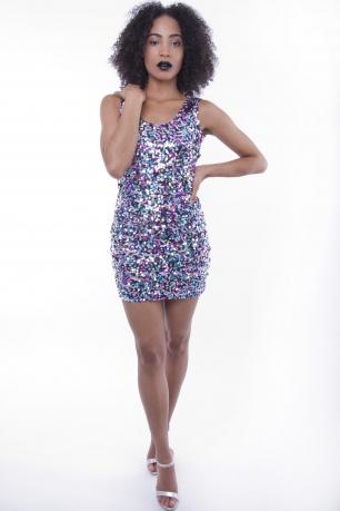 Stylish Multi Colour Sequin Mini Bodycon Dress
