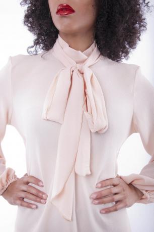 Stylish Long Sleeve Tie Neck Tunic Dress