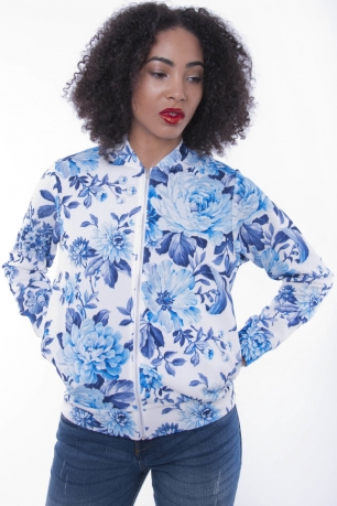 Stylish Floral Print Bomber Jacket