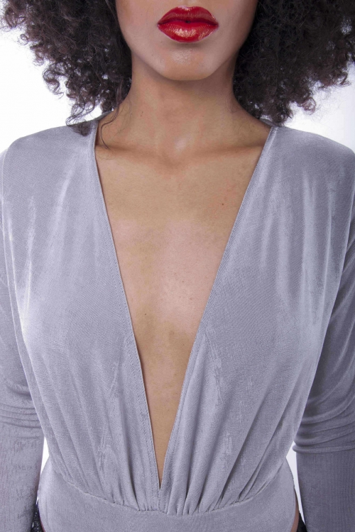 Stylish Slinky Plunge Neck Bodysuit