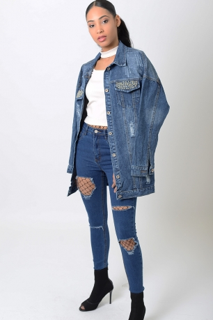 Stylish Distressed Oversized Denim Jacket