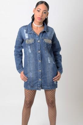 Stylish Distressed Oversized Denim Jacket