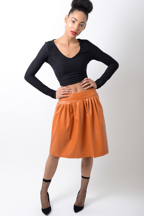 Stylish Faux Leather Skater Skirt