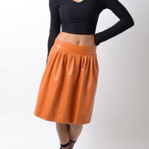 Stylish Faux Leather Skater Skirt