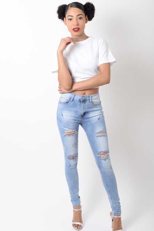 Stylish High Waisted Denim Ripped Jeans